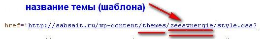 название шаблона WordPress в коде страницы