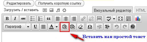 """Текстовый редактор WordPress - кнопка """"вставить как простой текст"""""""