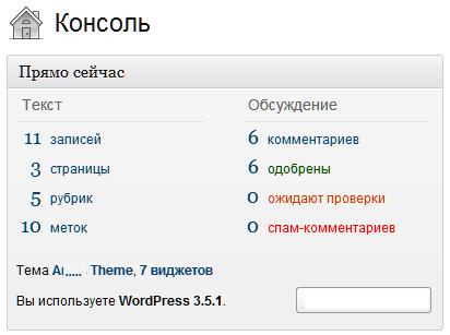 """Консоль WordPress панель """"Прямо сейчас"""""""