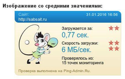 Проверка сайта на скорость в Ping-Admin